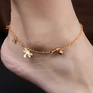 Jewelry - Dragonfly crystal anklet ankle bracelet trendy NWT